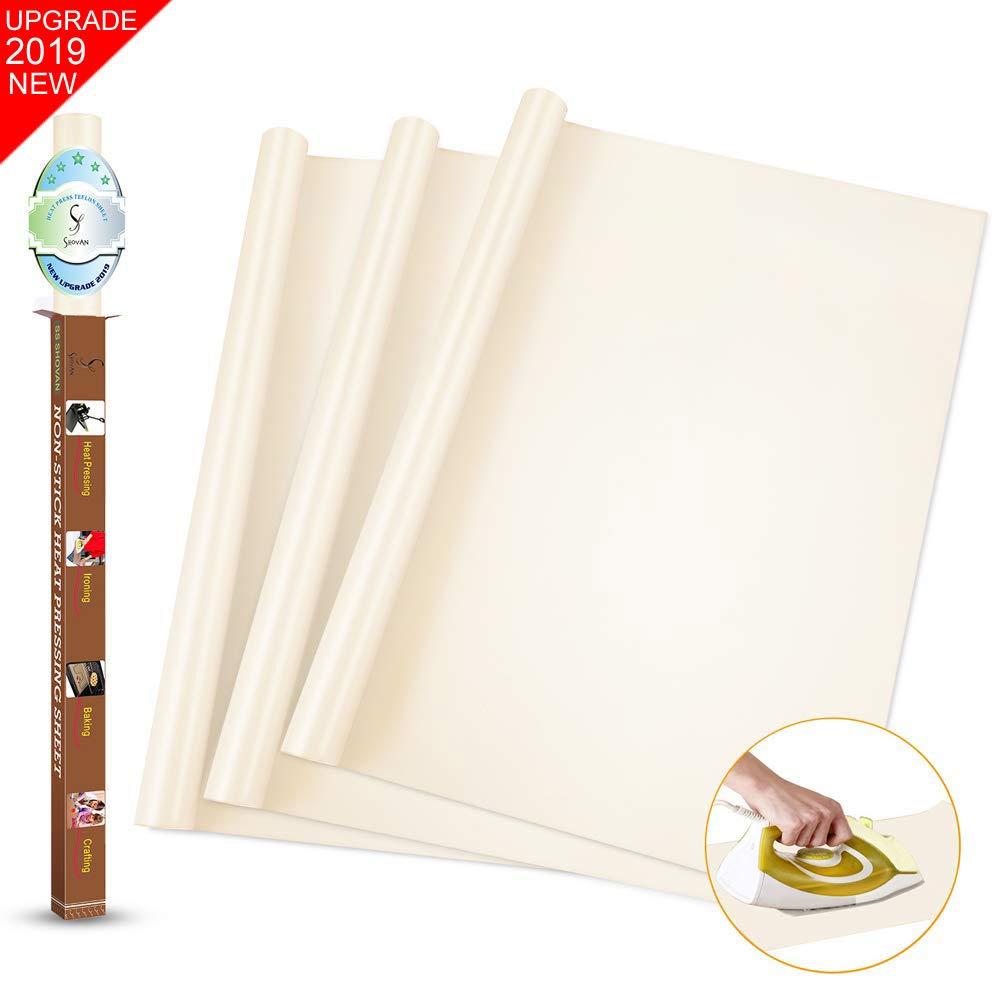 "SS SHOVAN 3 Pieces White PTFE Teflon Sheet for Heat Press Transfer Sheet 16 x 16"" Non Stick Heat Transfer Paper Resistant Washable Reusable Baking Sheet Craft Mat"
