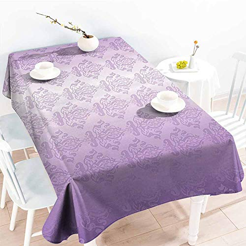 Homrkey Restaurant Tablecloth Purple Decor Ombre Vector Design of Royal Swirl Like Queen Details Art Print Lavander Lilac and Violet and Durable W70 xL84