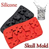 A-SZCXTOP Skull Ice Mould DIY Freeze Cube Silicone Ice Tray Maker Perfect for Chocolate Jelly (Color Random