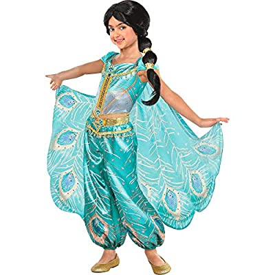 Party City Aladdin Jasmine Whole New World Costume for Children, Features a Peacock Jumpsuit with a Cape: Clothing