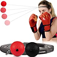 Boxing Reflex Ball, 2 Difficulty Levels Boxing Ball with Headband, UBANTE Punching Fight React Head Ball with