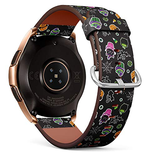 Compatible with Samsung Galaxy Watch (42mm) - Leather Watch Wrist Band Strap Bracelet with Quick-Release Pins (Happy Halloween Cupcakes Cute Elements)]()