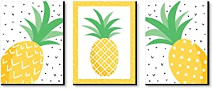 Big Dot of Happiness Tropical Pineapple - Nursery Wall Art, Kids Room Decor and Summer Home Decorations Ideas - 7.5 x 10 inches - Set of 3 Prints