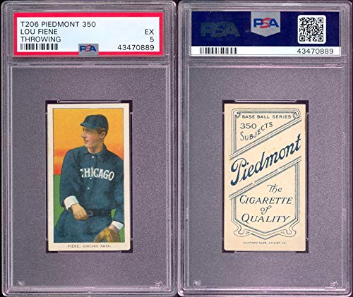 1909 t206 tobacco (baseball) card#167 psa lou fiene (throwing) (psa) of the Chicago White Sox Grade Excellent