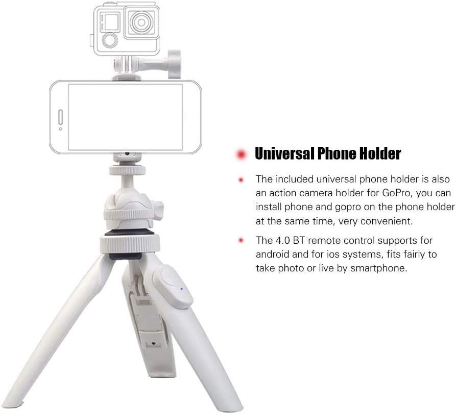 RuleaxA LENSGO L322 Portable Multi-Functional Tabletop Tripod with Phone Holder BT Remote Control for DSLR//ILDC Camera for Phone Samsung Huawei Smartphone for GoPro Action Camera