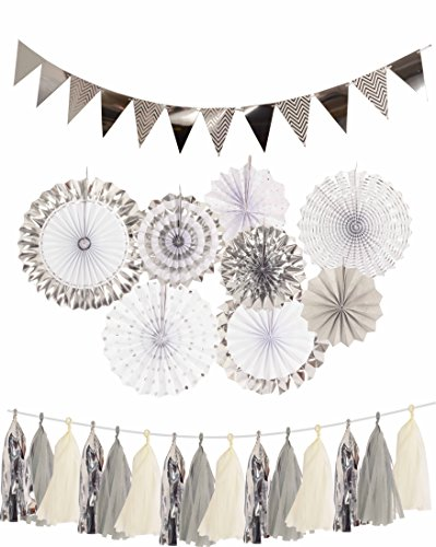 Silver Baby Shower Decorations (Silver Engagement Decorations, Silver Paper Fans Decorations + Sparkly Paper Pennant Banner Triangle Flags+Tissue Paper Tassels Garland, Silver Party Decoration for Baby Shower, Birthday)
