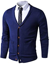 "<span class=""a-offscreen"">[Sponsored]</span>Mens Slim Fit Soft Cable Knit Shawl Collar Button Down Cardigan Sweater With Ribbing Edge"