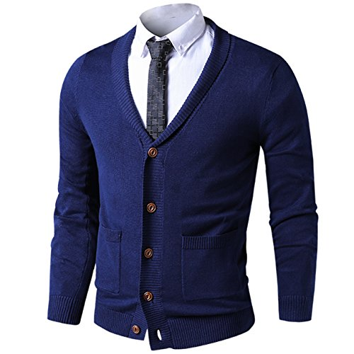 LTIFONE Mens Slim Fit Soft Cable Knit Shawl Collar Button Down Cardigan Sweater with Ribbing Edge(Blue,S) - Collar Mens Sweater