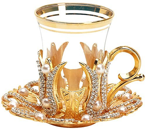 (Set of 6) Turkish Tea Glasses Set with Saucers Holders Spoons, Decorated with Swarovski Type Crystals and Pearl,24 Pcs (Gold) -