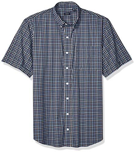 Arrow 1851 Men's Big and Tall Hamilton Poplins Short Sleeve Button Down Plaid Shirt,  NAVY BLAZER, 2X-Large Big
