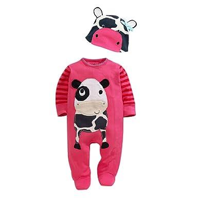 f9cd4b682501 Chic-Chic Ensemble Bébé Garçons Fille 2pc Combinaison Grenouillère  Barboteuse Body + Bonnet Chapeau Animal