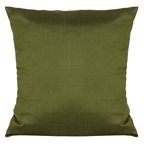 The White Petals Set of 2 Moss Green Art Silk Pillow Covers, Plain Silk Cushion Cover, Solid Color Moss Green Throw Pillow, (18x18 inches, Moss Green)