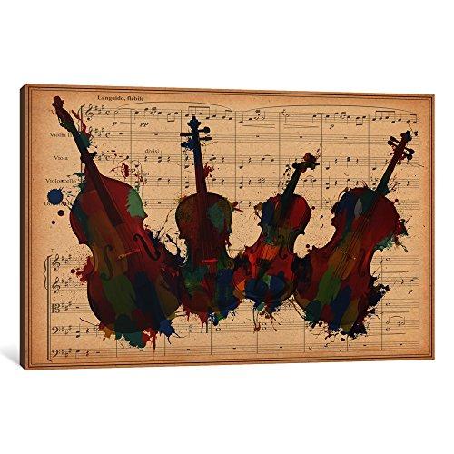 iCanvasART 1-Piece Multi-Color Orchestra Ensemble: Violin Viola Cello Double Bass Canvas Print, 26