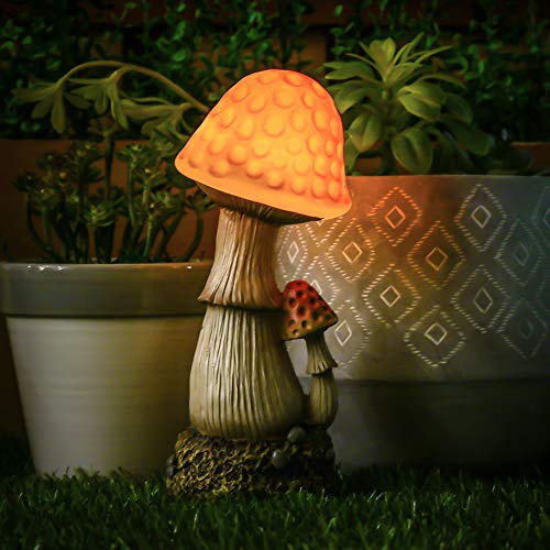 TERESA'S COLLECTIONS Mushroom Fairy Garden Statue Accessories, Resin Outdoor Statues with Solar Lights, Garden Figurines for Outdoor Decoration (Outdoor Paradise) (Fairy Mushroom)