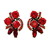 Rosemarie Collections Women's Valentine Red Rhinestone Clip On Statement Earrings