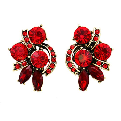 Rosemarie Collections Women's Valentine Red Rhinestone Clip On Statement (Rhinestone Floral Clip Earrings)