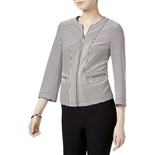 Kasper Womens Petites Textured Jacquard Collarless Blazer B/W 12P Black/Cream