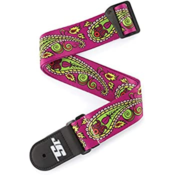 2 Perris Leathers TWSPL-7058 Jacquard Guitar Strap with Locking Ends Skull and Rose