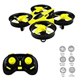 Mini Drone Headless RC Quadcopter Drone for Kids 2.4GHz 4CH 6 Axis Remote Control Helicopter Indoor / Outdoor Flying Small Airplane with One Key Return for Beginner (Yellow)