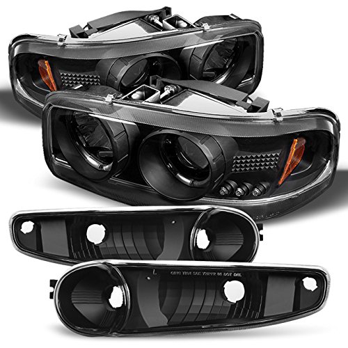 For 2001-2006 GMC Sierra/Yukon/XL/Denali Black Halo LED Projector Headlights +Black Bumper Signal Light (Gmc Sierra Halo Projector)