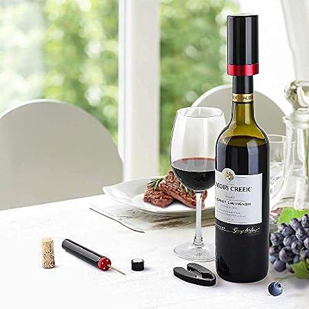 Set de Sacacorchos Vino Profesional y Tapón Vino Vacio Electrico, Quntis Set de Abrelatas de Vino, Abridor de Vino Abrebotellas de Presión de Aire Abrebotellas Vino, Tapón Botella Vino con Luz LED