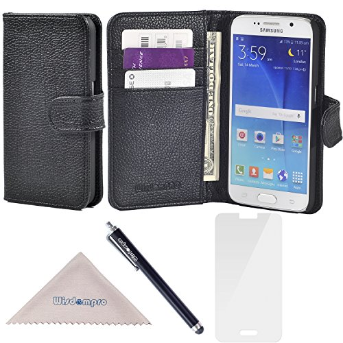 S6 Case, Wisdompro Premium PU Leather 2-in-1 Protective [Folio Flip Wallet] Case with Credit Card Holder/Slots for Samsung Galaxy S6 -Black w/o Lanyard