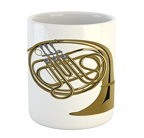 Lunarable Music Mug, French Horn Brass Instrument European Arts Pipe Jazz Orchestra Band Graphic, Printed Ceramic Coffee Mug Water Tea Drinks Cup, Khaki Grey White (Pipe Wrap Ceramic)