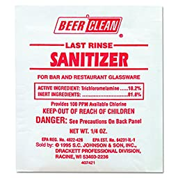 Diversey Beer Clean Last Rinse Glass Cleaner and Sanitizer, Powder, (0.25-Ounce, 100-Pack)