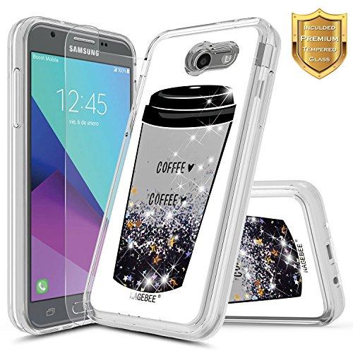 Galaxy J3 Luna Pro Case, J3 Prime/J3 Eclipse/J3 Emerge/J3 Mission w/[Tempered Glass Screen Protector], NageBee Glitter Liquid Quicksand Waterfall Sparkle Girls Cute Case for Samsung J3 2017 -Coffee