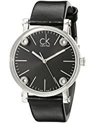 Calvin Klein Womens K3B231C1 Congent Black Dial Black Leather Strap Swiss Quartz Watch