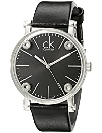 Women's 'Congent' Swiss Quartz Stainless Steel and Leather Casual Watch, Color:Black (Model: K3B231C1)