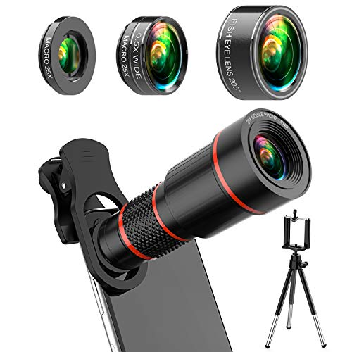 4K HD Phone Camera Lens Kit 10 in 1 for iPhone Samsung Android, 20X Telephoto Lens,0.5X Super Wide Angle Lens&25X Macro Lens, 205° Fisheye Lens, Work as Telescope with Metal Tripod
