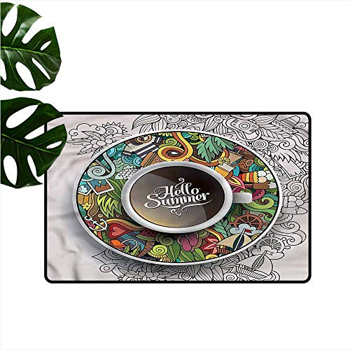 Bond Coffee Saucer (Welcome Door mat Coffee Summer Doodles Saucer Artsy Easy to Clean Carpet W31 xL47)