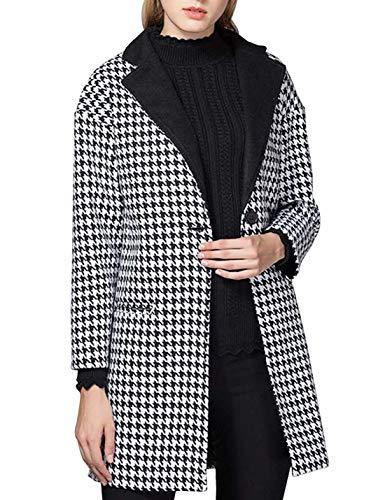 (Women's Houndstooth Wool-Blend Coat Tweed One-Button Blazer (Black, Medium))