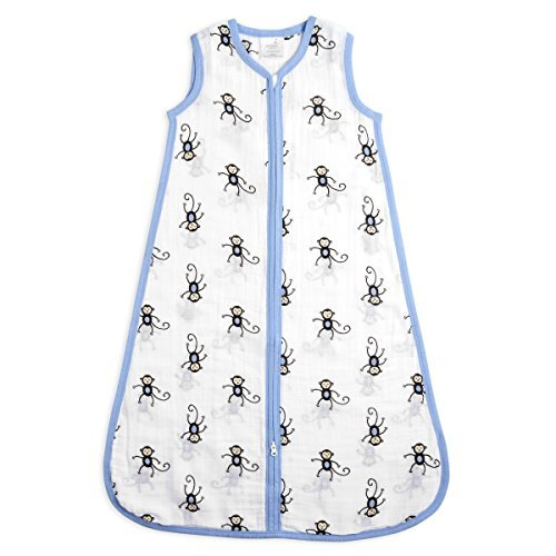 aden + anais Classic Sleeping Bag, 100% Cotton Muslin, Wearable Baby Blanket, Monkeys, Extra Large, 18+ Months