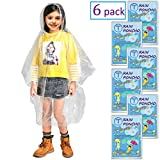 Disposable Rain Ponchos for Adults by(6 Pack) Including Drawstring Hood and Premium Quality 50% Thicker Material 100% Waterproof Emergency Rain Ponchos for Kids-Clear White (Clear Kids 6 Pack)