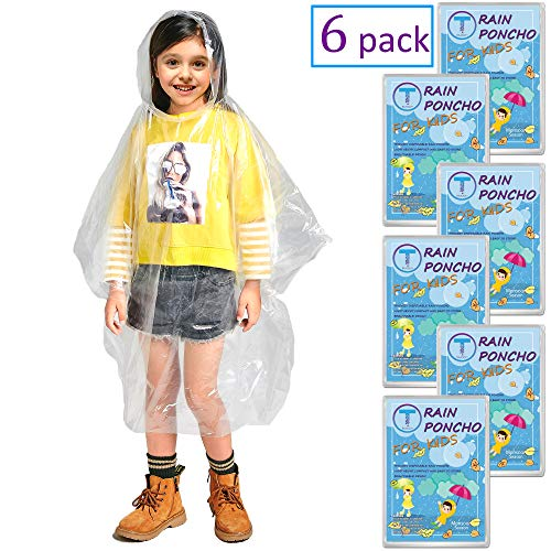 Disposable Rain Ponchos for Adults by(6 Pack) Including Drawstring Hood and Premium Quality 50% Thicker Material 100% Waterproof Emergency Rain Ponchos for Kids-Clear White (Clear Kids 6 Pack) by Timoch