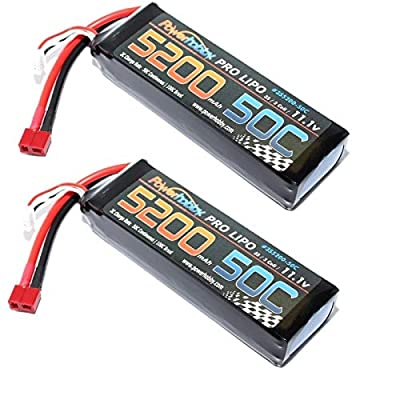 PowerHobby 3S / 3-Cell 11.1V 5200mah 50c Lipo Battery W Deans Plug / Connector ( 2 Pack ) for Traxxas RC Cars Slash vxl Slash 4x4 vxl E-maxx Brushless Axial e-revo Brushless and Spartan Models: Toys & Games
