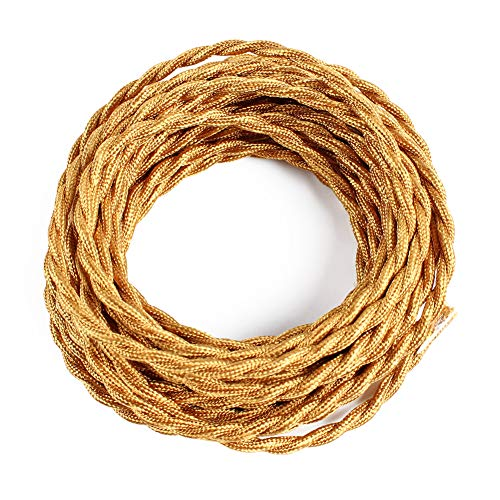 (25ft Fabric Cloth Covered Lamp Twisted Wire,PRUNLLA Vintage 18/2 Industrial Electrical Cord,18-Gauge Antique Style for Retro Lamp,DIY Projects (Brass))