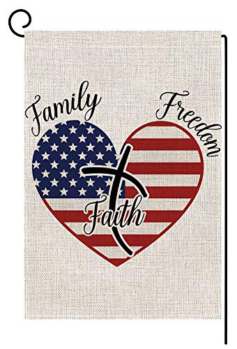 4th of July Independence Day Memorial Patriotic Heart Small Garden Flag Vertical Double Sided 12.5 x 18 Inch Burlap Yard Outdoor Decor (Family Freedom Faith) (Patriotic Flag Heart)