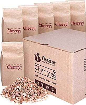 Cherry wood chips for smokers - 6 packs of 1 quart smoker wood chips - Smoking wood chips for grilling | smoking gun | electric smokers - Eco-friendly pack - Grill cherry chips by Firestar