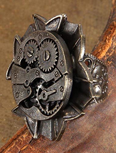 Antique Style Adjustable Steampunk Watch Gears Ring from elope