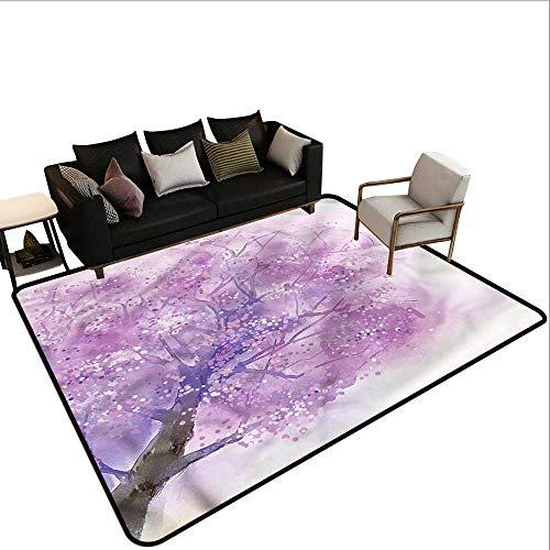 Springtime Throw - Flower,Office Chair Floor Mat Foot Pad 80