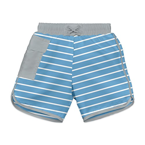 i play. Baby Boys' Striped Pocket Board Shorts with Built-in Swim Diaper, Blue Stripe, 18 Months by i play.