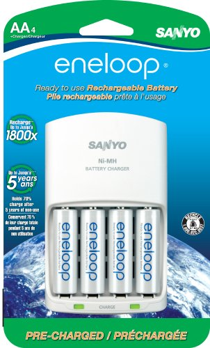 - eneloop AA with 4 Position Charger, 1800 cycle, Ni-MH Pre-Charged Rechargeable Batteries, 4 Pack (discontinued by manufacturer)