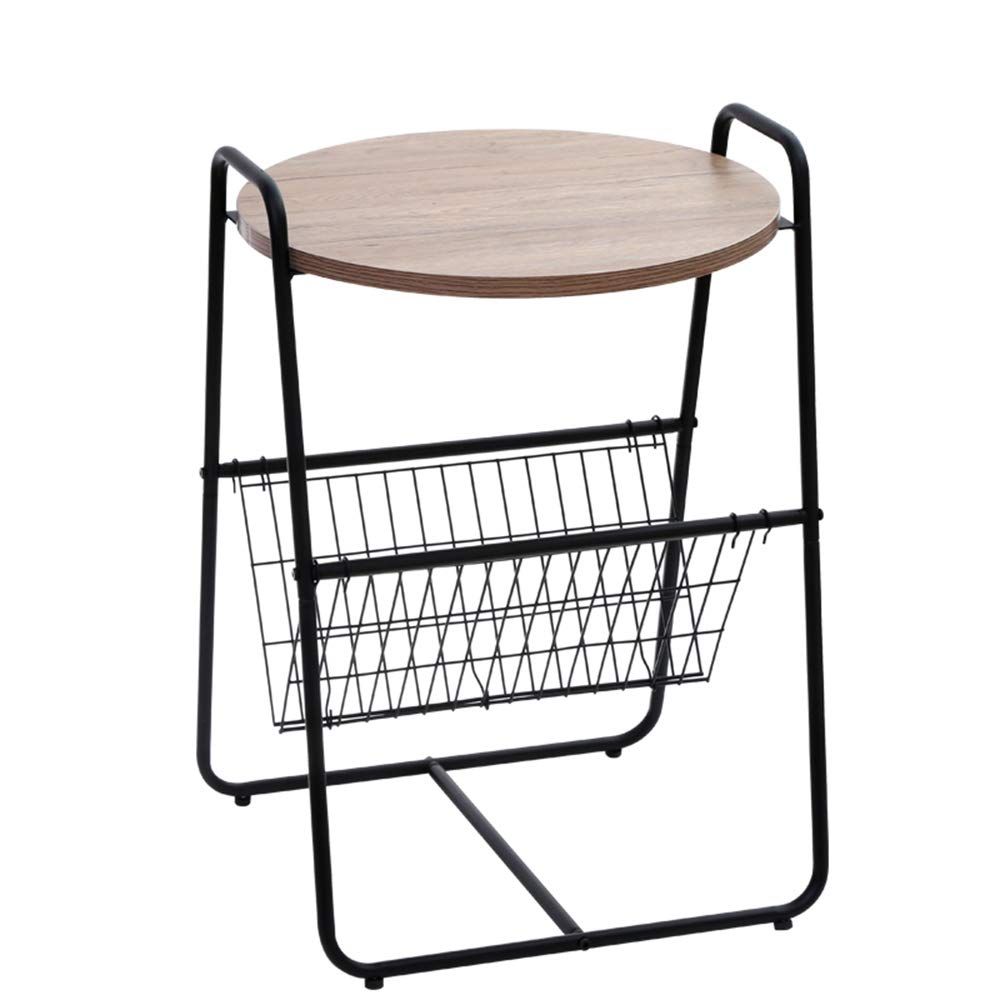 Carbon steel Coffee Table Multifunctional Solid Wood Round Table Double Carbon Steel Fabric Racks Sofa Side Table, Φ45cm H66cm (Edition   Fabric)