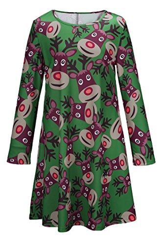 LaSuiveur Women's Christmas Santa Claus Print Pullover A Line Dress ()