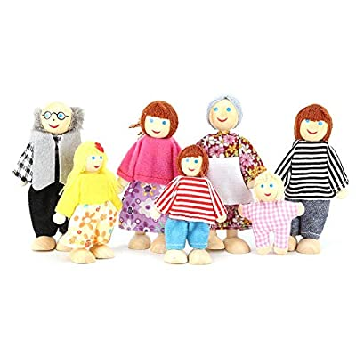 iFCOW Dolls Puppets, Baby Theater Dolls Accessories Children Toys Gift Game Cartoon Finger Puppets (Family of Seven): Kitchen & Dining
