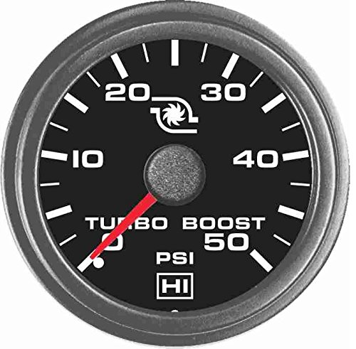 (Hewitt 102TM5005 Universal Turbo Boost Gauge KIT - 50 PSI)