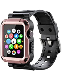 Apple Watch Band, iitee (TM) Tough Armor Screen Cover with Band Strap for 2015 Release Apple Watch (38mm Rose Gold)